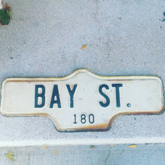 Salvaged Bay St. road sign of1960s vintage