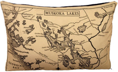 Muskoka Lakes pillow by County Cupboard Vintage Canadian Maps