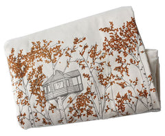 Orange Treehouses Blanket by Jenna Rose