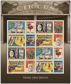 Vintage poster art commemorative stamp block of the U.S. Postal Service