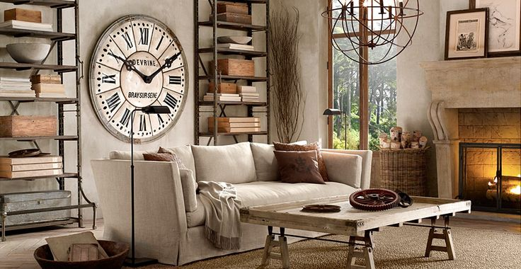 Room in Provençal style by home decor retailer Restoration Hardware.