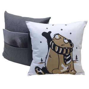Bear throw pillows showing front design and back with pocket