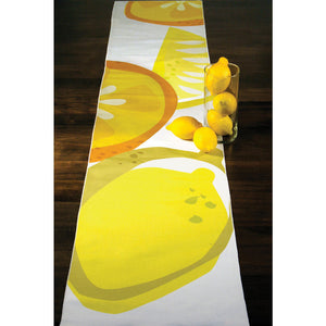 Lemon citrus table runner spread across table