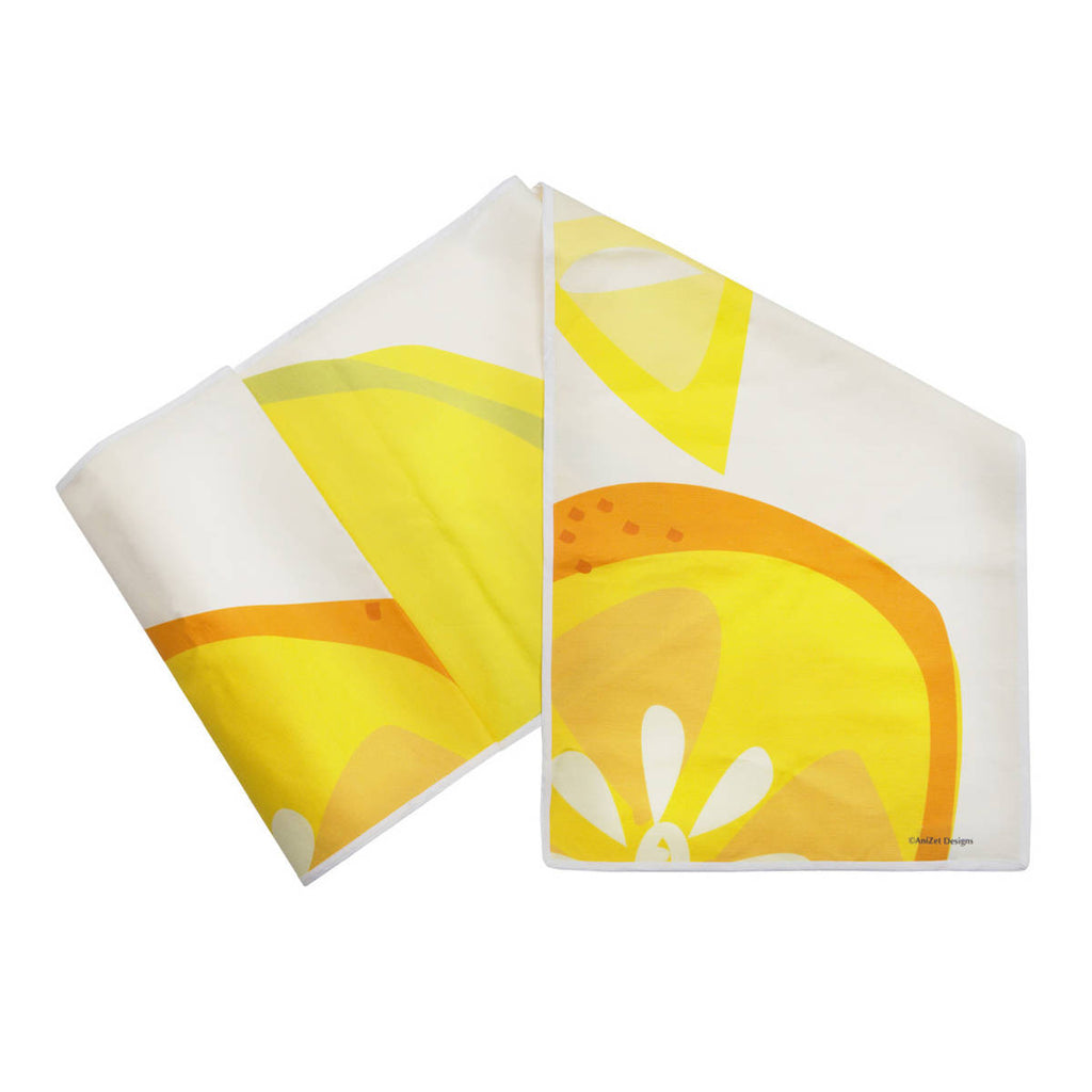 "Citrus Table Runner Linen Cotton 14""x72"" folded"