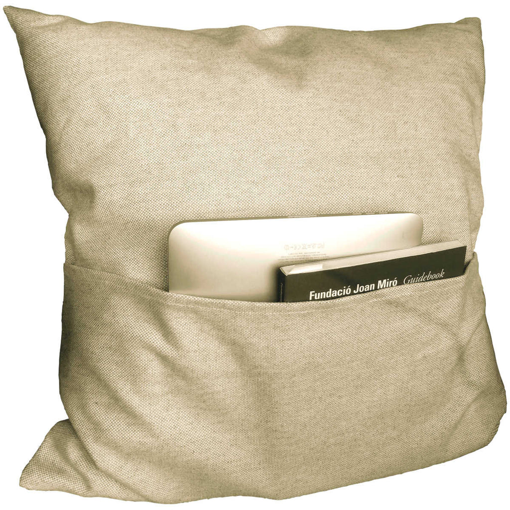 Beige linen pillow back with pocket