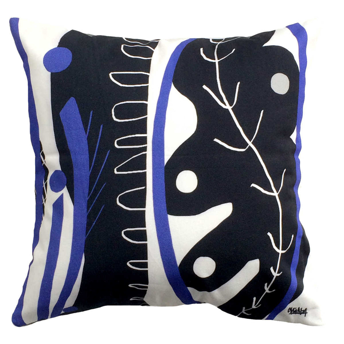 Blue fern decorative throw pillow front cover