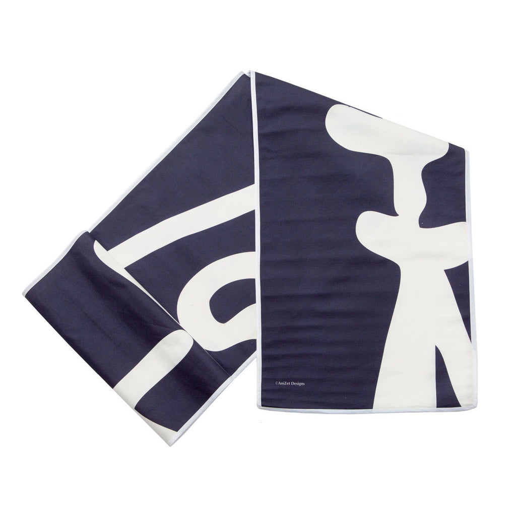 "Fish ""After"" Table Runner, White on Navy, folded"