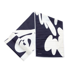 "Load image into Gallery viewer, Fish ""Before"" Table Runner, White on Navy, folded"