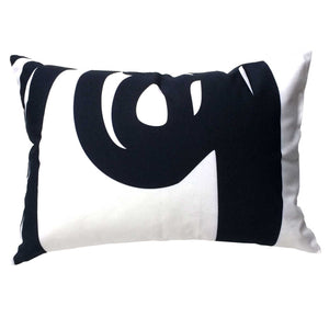 "Fish ""Before"" throw pillow black on white back"