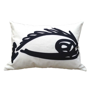 "Fish ""Before"" throw pillow black on white front"