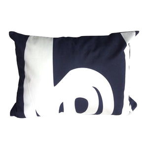 "Fish ""Before"" throw pillow white on navy back"