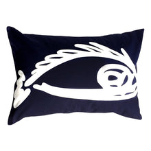 "Load image into Gallery viewer, Fish ""Before"" throw pillow white on navy front"