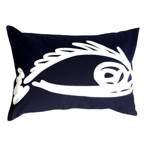 "Fish ""Before"" throw pillow white on navy front"