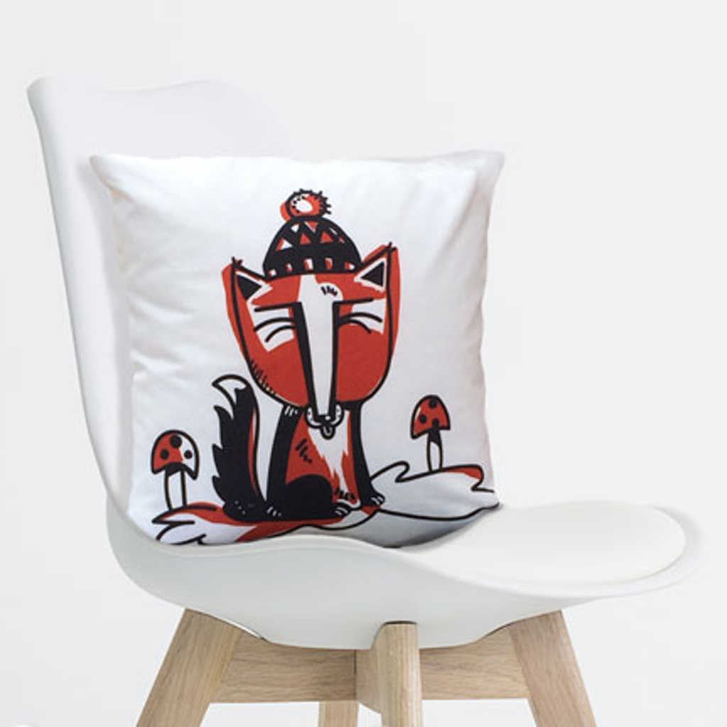 Fox Pillow Red 18 inch on contemporary chair