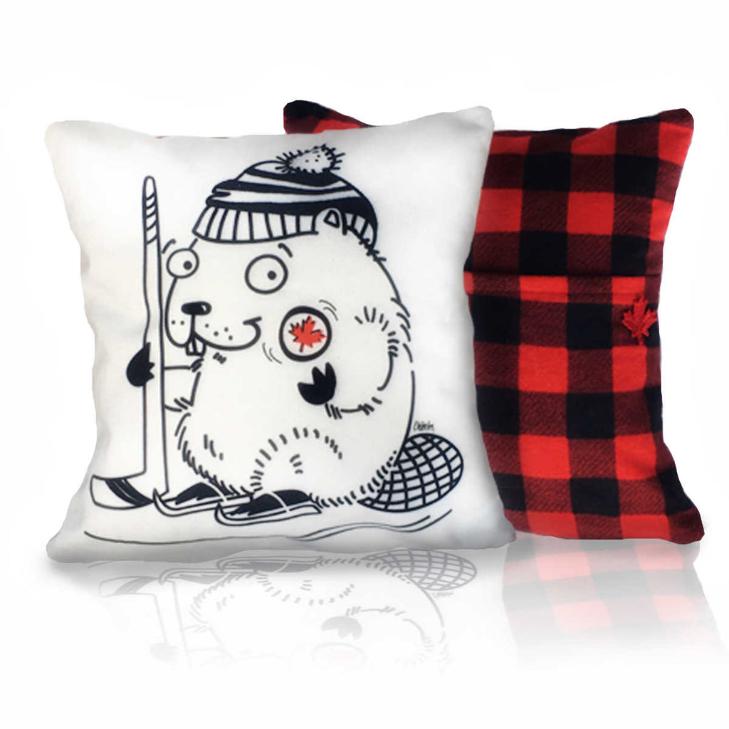 Hockey Beaver Pillow showing Red and Black Plaid Back with Pocket and Embroidered Maple Leaf