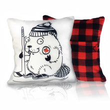 Load image into Gallery viewer, Hockey Beaver Pillow showing Red and Black Plaid Back with Pocket and Embroidered Maple Leaf