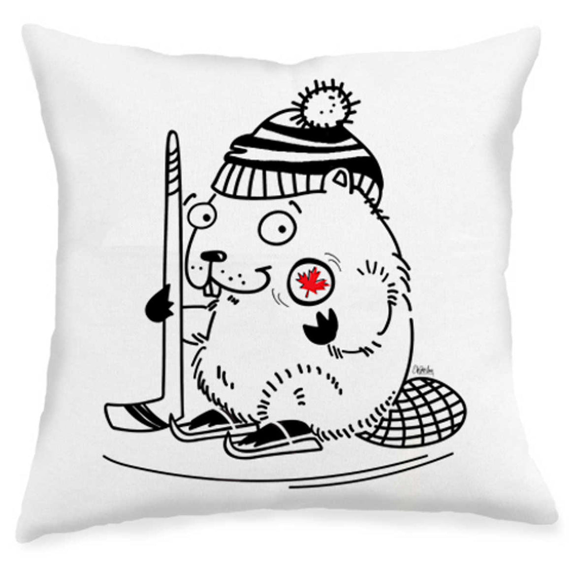 Hockey Playing Beaver Pillow Front