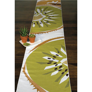 Kiwi table runner spread across table