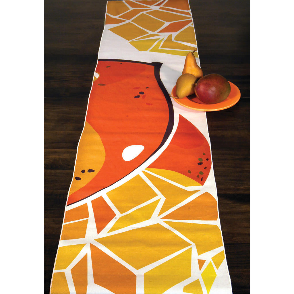 Mango table runner spread across table top
