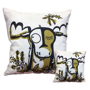 "Moose Throw Pillows 18"" x 18"" and 10"" x 10"" square side by side"