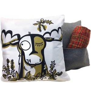 Moose throw pillow showing front design and back with pocket