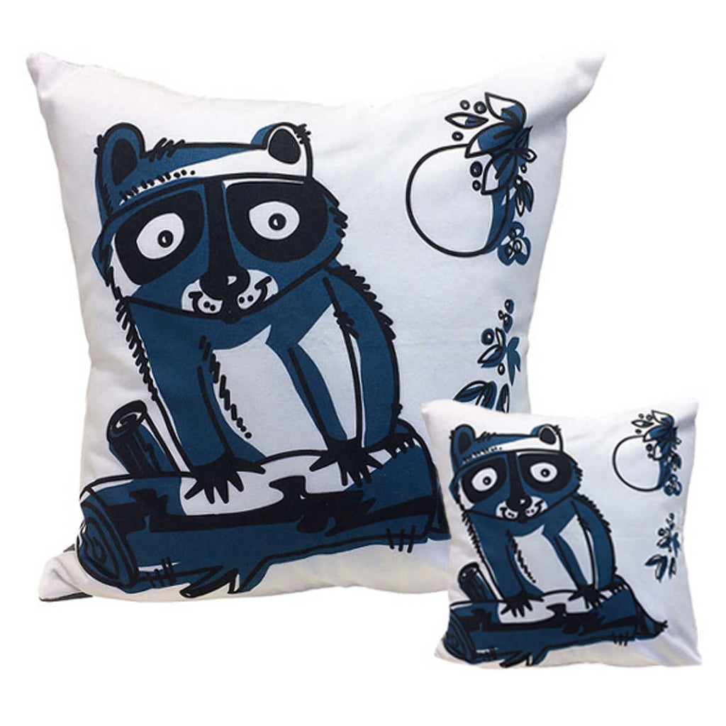 "Raccoon Throw Pillows 18"" x 18"" and 10"" x 10"" square side by side"