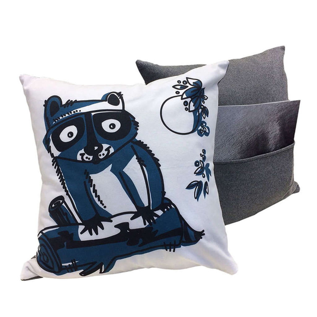 Raccoon pillows showing front design and back with pocket