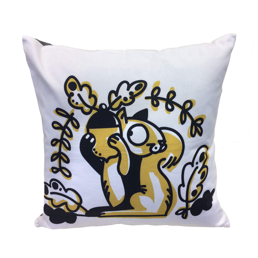 Squirrel cotton toss pillow front