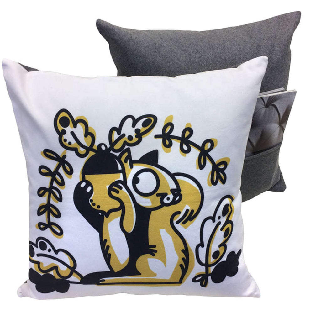 Squirrel Accent Pillow showing front design and back with pocket