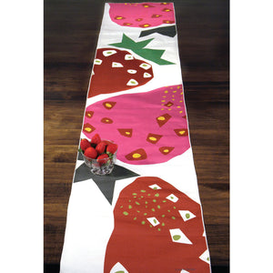 Strawberry table runner spread across table top