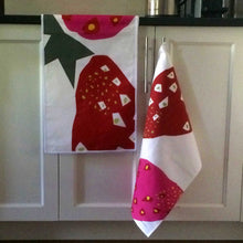 Load image into Gallery viewer, Strawberry table runner and tea towel displayed in kitchen