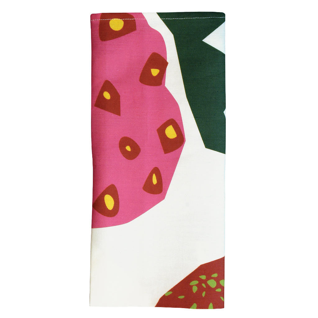 Strawberry tea towel folded (detail)