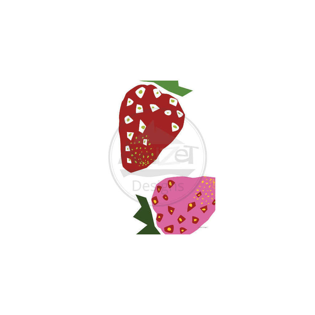 Strawberry tea towel full design with watermark