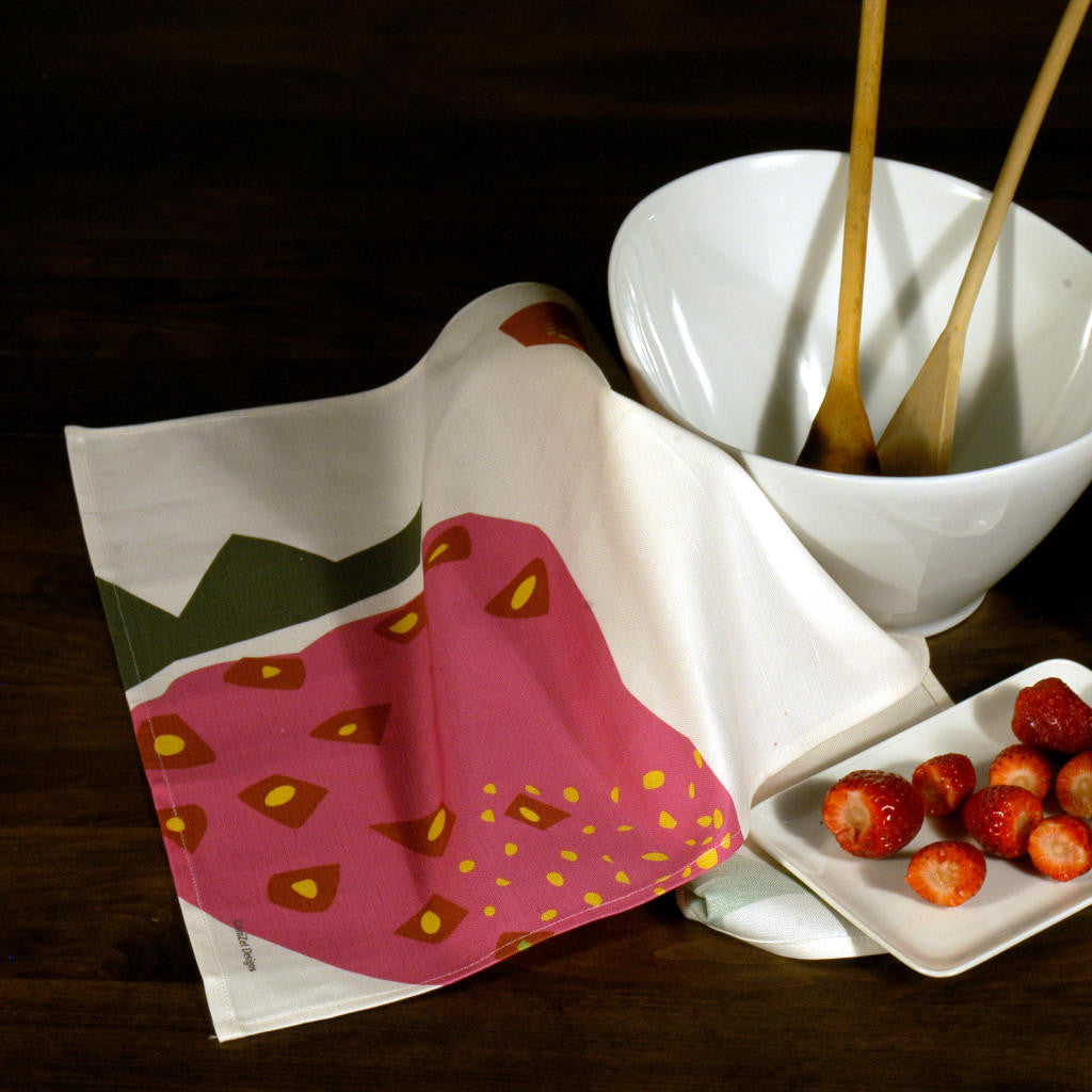 Strawberry tea towel with bowl and strawberries