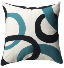 Load image into Gallery viewer, Branchette (Twig) Decorative Pillow back with blue and black circle design