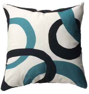 Branchette (Twig) Decorative Pillow back with blue and black circle design