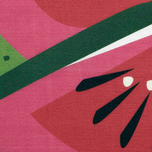 Watermelon table runner close-up detail showing fabric weave