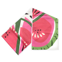 "Load image into Gallery viewer, Watermelon Table Runner, Linen Cotton, 14""x72"", folded"