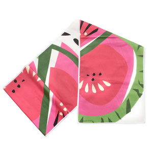 "Watermelon Table Runner, Linen Cotton, 14""x72"", folded"