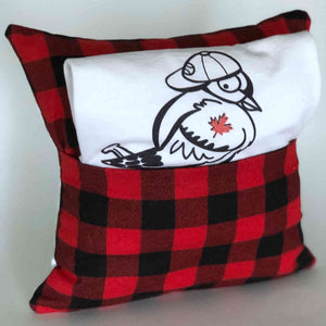 blue jay baseball pillow showing buffalo plaid back and pocket
