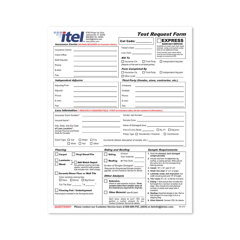 Test Request Form ITEL Laboratories Inc – Request Form