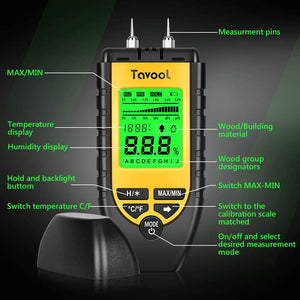 Tavool Wood Moisture Meter Digital Moisture Detector 2 high precision pins 8 Calibration Scales