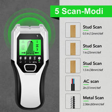 Load image into Gallery viewer, Stud Finder Sensor Wall Scanner - 5 in 1 Electronic Stud Sensor Locator Wall Wood Beam Joist Finders Wall Detector Edge Center Finding with LCD Display for Wood Live AC Wire Metal Studs Detection