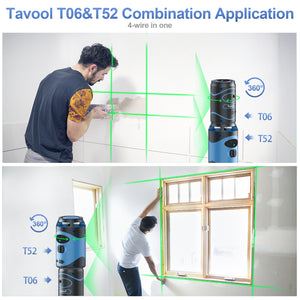 Tavool 100ft Green Laser Level Rechargeable Lithium Battery Type-C  Self Leveing and Manual Mode