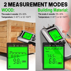 Wood Moisture Meter-MT1904 Upgraded Moisture Meter for Wood, Pin-Type Digital Moisture Mold Detector Tester for Firewood