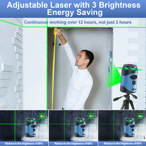 Tavool Laser Level for Construction 360° Green Self Leveling Laser Level 3 Brightness Adjustment