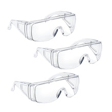 Carica l'immagine nel visualizzatore di Gallery, Safety Glasses Over Glasses Goggles Protective Eyewear for Work - Anti Fog Shooting Glasses Eye Protection with Clear Vision,Scratch & UV Resistant Safety Glasses for Men Women Lab Clear 3 Pack