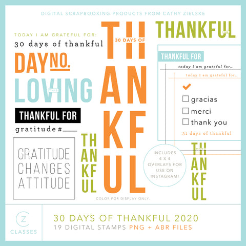 30 Days of Thankful 2020 Digital Stamps