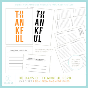 30 Days of Thankful 2020 Pocket Cards Set