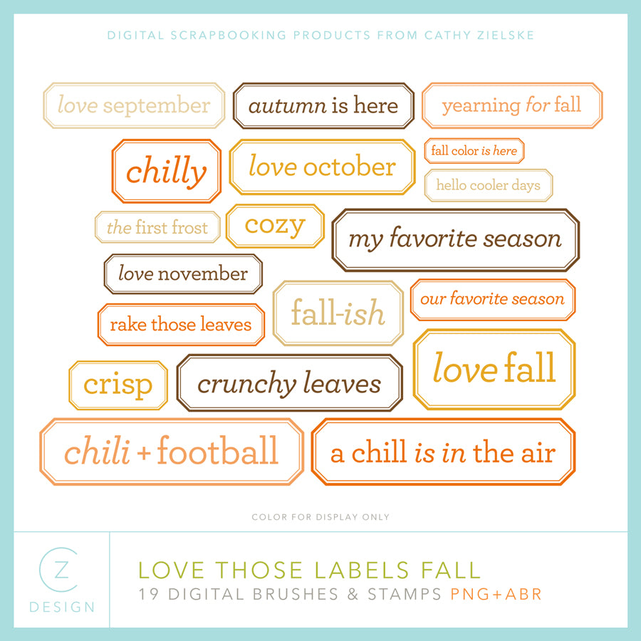Love Those Labels Fall Digital Stamps